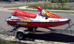 Awesome condition. Water-ready. 3-person Tigershark Montecarlo 900 jetski. Less than 100 hours total use!Comes with aluminum single jet-ski trailer with a 2'' ball hitch (with lock)Also Included