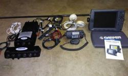 """Garmin 3210 GPS map 10"""" display GPS/fishfinder, Garmin GDL 30A satellite weather and music with GPS17-HVS antenna and mount,, Garmin GDS22 transducer receiver (transducer not included) Garmin GMS10 network switch, Icom IC-M422 VHF radio with antenna and"""