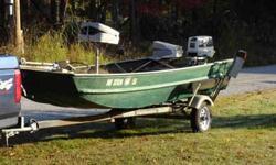 1980 Duracraft 15' flat bottom boat. 25 HP Johnson motor. 12 volt 3 speed trolling motor. Fish finder. New seats. Garage kept. Asking $1550 OBO for boat, motor & trailer. (479) 422-9053