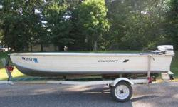 14' Aluminum Boat With 25 Horsepower Johnson outboard. The engine in the first picture is what goes with the boat. The 25 is Great, Low Hours, Runs good. Also has open layout with a Livewell. Great for fishing, or the open layout would be great for