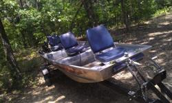 88 BT 8hp merc.sound exc running shape used on sardis seats three w/vinyl swivel seats,30lb minn-kota.The trailer has been rewired new lights and bearings,housing racers all new. The engine has been maintained to above par condition, pulls cold start 2nd