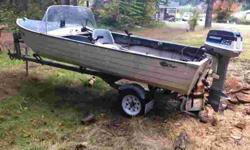 Nice little Aluminum boat. It is set up for crabbing flat deck inside. Right side console. Automatic starter. Galvanized trailer. 360-509-9068 Location