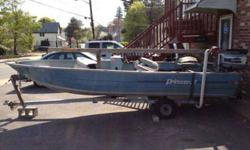 15.5 foot Princeraft aluminum V hull 1985 in good condition! Comes with galvanized trailer 30 HP Evinrude right hand console, bimini top, fishing seats, trolling motor, new battery, rod holders and more! Great little fishing boat $1700 or best offer! Cash