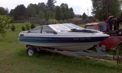 needs new upholstery work, 17 ft. fish finder, trailer has heavy duty axles,