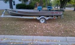 Aluminum fishing boat, motor and trailer for sale. Includes older fifteen HORSEPOWER Johnson outboard and an electric trolling engine. Nice little rig. Family is growing so I just bought a larger boat and this 1 has to go. May deal if offer is reasonable.