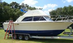 Flybridge, hull recently painted, interior 85% completed with cherry wood. Twin engine with V drives--needs engines--no trailer