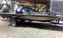 full engine and outdrive service from Bass Pro Shops annually. Trolling motor w guide and foot control 40 hp low emission outboard fish finder aft and forward; high and low swivel seats ; all lights ,oars, anchor, ties, pole holders and safety gear. Two