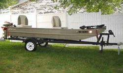 Ready to go fishin? 2003 Waco 14ft Jon Boat with trailer. Johnson motor with carburetor upgrade. Minn Kota foot-controlled trolling motor. New marine battery. New 6 gal fuel tank with fuel line and primer bulb. Like new swivel seats with posts. Fish