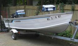 1988 fourteen feet. Grumman bass boat w/8hp. mercury motor , has bait well and small storage under middle seats two high seats comes on trailer that has never been in water! call Jack cell#508-989-0497 no E-mails I won 't answer! (too many