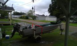 15 ft. aluminum boat,25 hp. tahatsu,gal. trailer,trolling motor,gas tank,papers on all