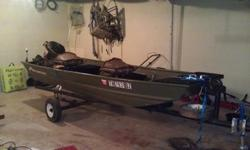 12' Alumacraft flat bottom Jon Boat with 3.9 Mercury outboard. Has brand new carpet, bow/stern lights, 12 volt marine battery with a/c adapter, fish finder, 2 foldable seats and a trailer with winch, wheel stand and new tires. Boat is is great shape and
