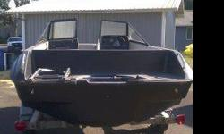 Full fiberglass floor. Really attractive shape.Has two brand new swivel seats. Not shown. Keeping them out of sun and weather.Needs accessory/trim work done and an outboard engine.Galvanized trailer with attractive tires and rims.Incredibly great deal at