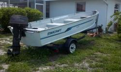 14 Foot Aluminum Boat 20 hp Johnson Trailer included /tan anchor, Rod holders, anchormate, and oars Asking