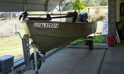 This ad is for a 14' MirroCraft by Northport aluminum boat, a galvanized Loadrite Trailer, and Suzuki 25hp Motor with electric start. This is located in Roanoke, Alabama 36274. We will not ship. This is for local pickup. However, if you live within 1 hour