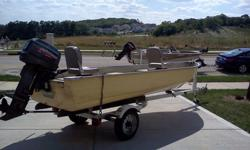 1984 14' Mirrorcraft fishing boat with a 1999 25 hp Johnson short shaft and 1998 Yacht Club trailer with spare tire. This boat has been well-cared for and is in good condition. The motor runs like a champ. Two swivel seats are included. This boat has