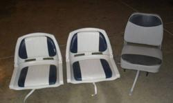 I have three bass boat seats in good condition.I`m asking 20.00 apiece for the blue and white ones, and 25.00 for the grey one.Call 765-874-1545Listing originally posted at http
