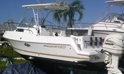2000 Aquasport 24' Tournament Master with 2001 Evinrude 200 This is a 1 owner vessel with 381 original hours, hard top, rod holders, livewell, Garmin 185 gpsmap depth finder, ship to shore radio, cabin has porta potti that is plumbed so you just pump it