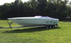 "Get your hands on this well maintained Baja Outlaw ""Poker Run Edition"". That means it has 2 sets of bolsters and a bench seat. Tons of room for everyone! This boat is 33', it has twin 500hp blue tops, bravo outdrives with drive showers, 390 hours on the"