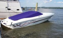 Up for sale is our great 2000 Baja Boss 272. She has a Mercruiser 454 MAG MPI with Gil offshore racing headers. The whole boat has been meticulously taken care of and it shows. This Baja looks almost new. The Boss graphics and interior styling have a