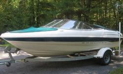 2000 Bayliner Capri 1850 4.3Liter V6 190HP with trailer. Nice Clean boat with White and Green exterior. Detachable face stereo, extra Prop, power inverter and Bimini Top. Clean interior always garage kept with cover on! Boat has been serviced at the end