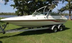 2000 Caravelle Interceptor 232; 24' sport bowrider with Monster Tower wakeboard tower and full Kicker soundsystem and tower speakers. Has fuel injected Mercruiser 350 MagMPI (210 hrs - mostly freshwater) offers plenty of power for towing and tops the boat