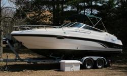This is a great running boat. It has been well maintained, with the service records to prove it. The boat has 420 hours on it, brand new exhaust manifolds. Exterior is in great shape along with the cuddy cabin. The vinyl in the surface area needs work to