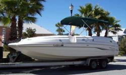""",,.,,.2000 Chaparral Sunesta 232 Deck Boa (23' 3"""" in length with a 8' 6"""" beam. Dry weight is 3832 lbs)t with Trailer. 245HP Volvo inboard engine, with only 250 hours. Has seating for 14 people. Has features like: side entry door, docking lights, stainless"""