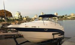 ,,,,,,,,,,2000 Glastron GS249 Cruiser, partially restored. The boat is in good shape and many things have been replaced and restored. It has a strong 5.7l Volvo Penta engine with a dual prop and plenty of power. Boat is powerful enough to pull a wake or