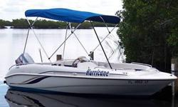 UP FOR SALE IS MY 2000 HURRICANE DECK BOAT POWERED BY A 2000 90 HP YAMAHA 2 STROKE. MOTOR HAS TILT & TRIM THAT LOOKS AND RUNS GREAT. BOAT AND MOTOR HAVE ONLY 171 HOURS !THE BOAT COMES WITH COAST GUARD PACKAGE, BILGE PUMP, LIVE WELL, COMPASS, DEPTH METER,