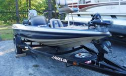 This 2000 Javelin Renegade 18 foot bass boat is in terrific condition and has always been garage stored. It is loaded with all the cool fishing necessities that can be seen in the pics below. It has a cranking battery and 2 deep cycle trolling motor