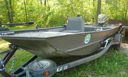 Great boat will seat 5 guys easily, comes with motor and trailer all have clear titles. Boat has new carpet, holding tanks, trolling motor, seats are included and are in good condition and used fish finder. Great for big rivers or lakes very sturdy and