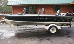 2000 LUND 1650 REBEL FISHING BOAT.* 16 FEET 5 INCHES V-HULL* Tiller design* Live Well* Safety lights* Hunter green, with silver accents and striping* Shorelander trailer* Fuel tank & battery fit nicely under the rear storage compartment.* Includes (3)
