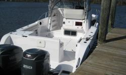 Here's your chance to own a nice twin engine boat for a fraction of its value. The electronics have all been removed, as well as the 110 volt generator and the air conditioning system. New batteries recently installed and the Yamaha 250 engines crank and