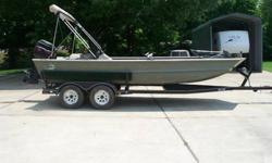 "THIS IS A 20' long 6' wide bottom with 27""sides it has a 75 hp mercury with bimini top, comes with 12/24 motor guide trolling motor,am fm cd radio, 5 life jackets,rod holders,depth finder,good carpet ,2 dry boxes, tandom trailer.Engine type: Single"