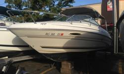 2001 Sea Ray 215 Weekender Cuddy Cabin Cruiser Boat - Great layout with swim platform with fold up ladder- VHF Radio, Stereo and Garmin GPS - Mercruiser 5.7 EFI matched with an Alpha One Outdrive - Always stored and used in Massachusetts, not a southern