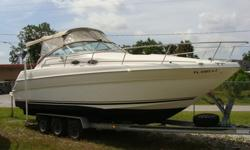 Twin V-6 Mercruisers with new Manifolds and Risers, Windlass, Eisenglass enclosure, VHF Radio, AC, Trim Tabs, Depth finder, All books, Vacu-flush head, external shower hot and cold, counter rotating props, CD/Stereo. A triple axle aluminum trailer is
