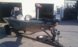 This is a great bass boat and trailer..... I have no time to use....... It's in great shape. It's has 24 volt 74lbs trolling motor w/new batteries and a on board charger. Power by a 150Hp/130 Jet Yamaha V6.. Lots on storage, live well w/ divider, front