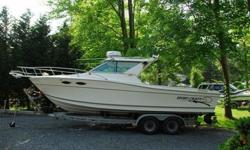 """Ready to fish or cruise.LOA 25'2"""" from transom to bow point. Does not include pulpit.Beam 8'6"""".Cockpit Depth 26"""" Minimum.Power 350 CID Mercruiser EFI 260 HP.Drive Bravo 3 Outdrive with dual propellers.Fuel Capacity 115 Gallons.Top Speed 42 knots.Offshore"""