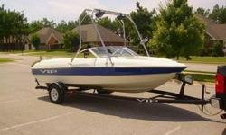 2000 VIP Viva 18ft I/O open bow boat (Blue and White). New 190 hp 4.3L engine serviced locally. The motor was a brand new crate motor and came with the oil pan, valve covers, timing cover, harmonic balancer, circ. water pump and intake manifold and was