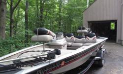 2001 bass tracker Pro Team 175xt, single console with gages, 40 hp EPTLO, (2 stroke oil injected) runs great, two pro tracker 128x fish finders, bow and @ console, on-board charger, two batteries, power trim front, throttle and motor, 43 lb thrust