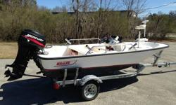 This boat is 13' with a 40hp Mercury, electric start, power trim and is in great shape with lots of extras. I bought this boat last year, taken it out in all kinds of water and have been really impressed. Get mud in the boat from shrimping, no problem