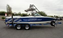 Mercruiser 350 Mag MPI Tournament Ski with 315 HP, wakeboard tower w/speakers and lights, board racks, bimini top, mirror, ballast, full instrumentation, depth finder, tilt steering, Kenwood AM/FM CD MP3 USB stereo w/2 amps, glove box, wind dam, built-in