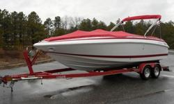 In great shape ready for fun in the water. You won't find a better handling, stable riding boat.8.1L Gi Volvo Penta Dou Prop I/OLots of room with extra large Bimini shade top? Boat cover? CD player? Digital depth gauge? Tilt steering? Plenty of storage?