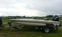 2001 Javelin 17 Venom. It has a 115hp Johnson that runs great. The extras are a 24v Minn Kota 80lb thrust trolling motor, hummingbird 525 on the bow, Lowrance GPS Sonar XDS5 on the console, 2 livewells, rod storage, storage for tackle and life jackets,