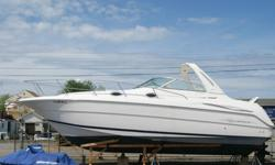 ..'''Inside features include:Accommodations/Sleeps 6 in V-berth (Front), Mid Cabin & Convertible DinetteFull galley that includes: AC/DC fridge/freezer, Stove, Microwave, Sink, Counter & Storage SpaceHead: Wet Shower & Marine Toilet with holding tankAM/FM