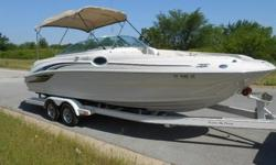 Lake Ready 2001 Sea Ray 240 24' deck boat that the whole family and friends can enjoy. Ride above the rest, Sea Ray is known for its craftsmanship and quality and produce some of the best boats on the water today. This boat is equipped with a powerful 7.4