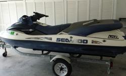 2001 Sea-Doo LRV has roughly 180 hours. Recently serviced, inside hull cleaned, carbs cleaned, new battery, great compression, and all gauges work. Other than some minor tears on one of the seats and some barnacles it is ready to go. Trailer is in good