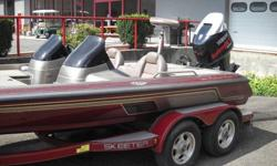 Professional fishing setup. 101lb thrust trolling motor. Dual axle trailer. Dual fuel tanks. Dual live wells. Hot foot. Dual consoles. GPS and fish finder.Type: Bass Engine .type: Single outboard .Use: Fresh water .Length (feet): 19.0 .Engine make: Yamaha