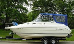 """FOR SALE: 2001 Wellcraft Martinique 2400 Cabin Cruiser - LET'S GET EXCITED !!!This is a 24' class cabin cruiser with an overall length of 25'5"""". (notice the impressive bow pulpit) Powered by the all mighty Volvo Penta, fuel injected, 5.0 liter duoprop."""