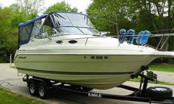 "This is a 24' class cabin cruiser with an overall length of 25'5"". (notice the impressive bow pulpit) Powered by the all mighty Volvo Penta, fuel injected, 5.0 liter duoprop. This baby is the finest in power and economy. If you have never captained a"